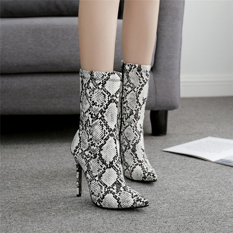 Snake Pointed Ankle Boots high heels White