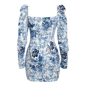 Puff long sleeve mini blue floral square collar dress