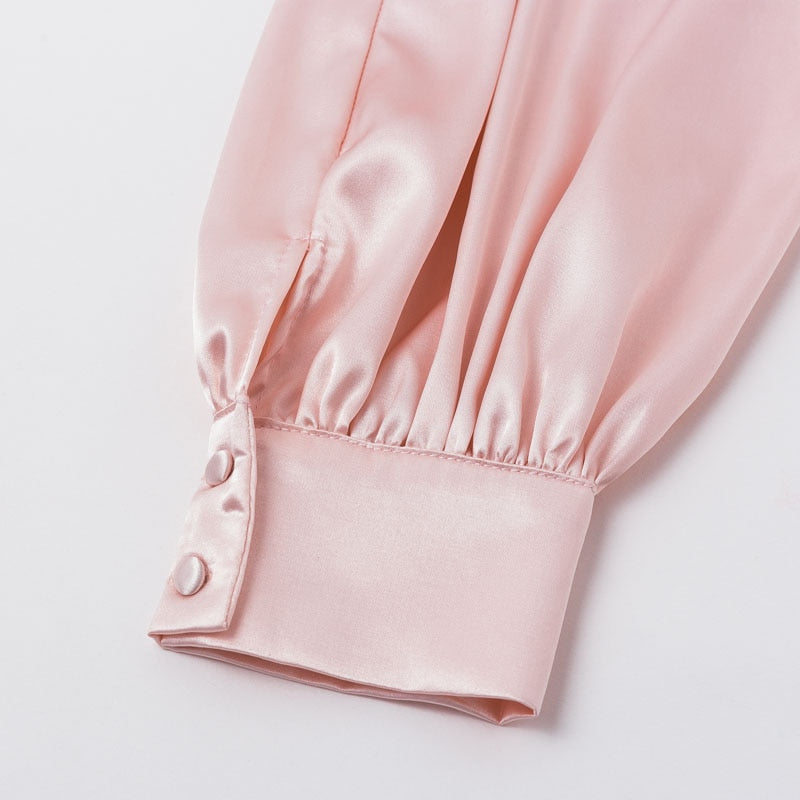 Puff long sleeve mini  square collar dress pink