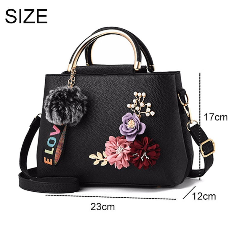 Women Bag Leather  Tote Flowers Shel Designer
