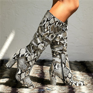 Snake Pointed Long Boots Block Heels gray