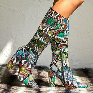 Snake Pointed Long Boots Block Heels multi