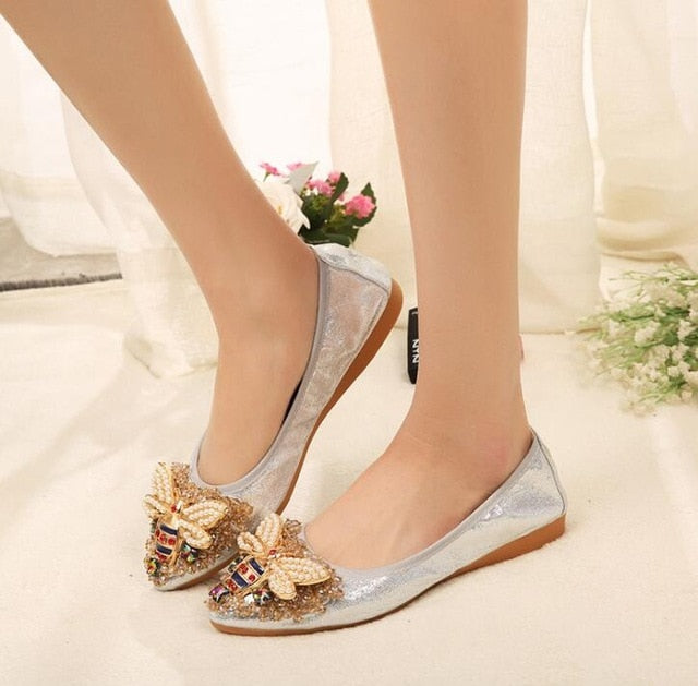 Crystal embellished flat pumps shoes Big silver bee