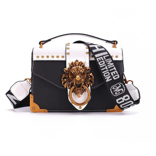 Luxury Metal Lion Head Cross body Designer Handbags Black