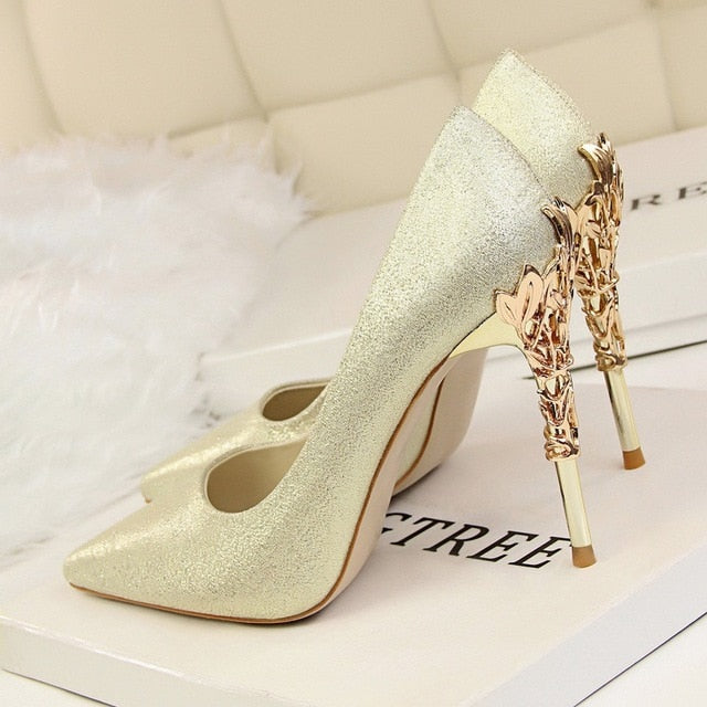 Luxury Metal Heels Pointed Shoes gold