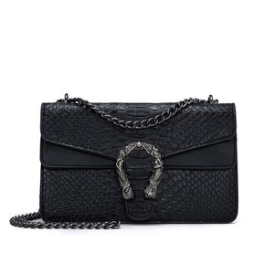 Snake metal chain Cross body Designer Handbag Black large