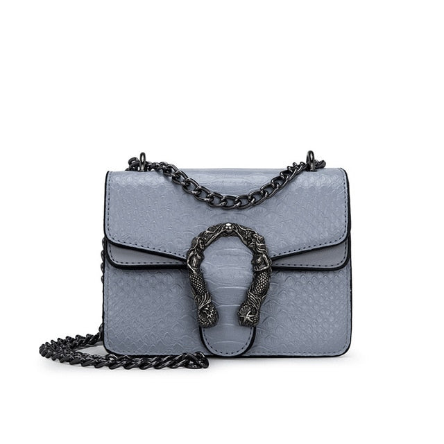 Snake metal chain Cross body Designer Handbag Gray small