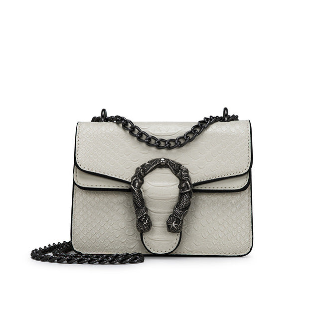 Snake metal chain Cross body Designer Handbag Beige small