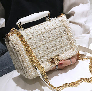 Luxury Woolen Pearl Designer Crossbody Handbag White
