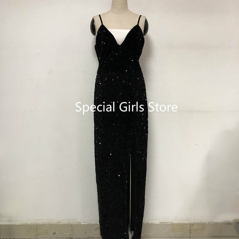 Sequin black evening high split woman dress