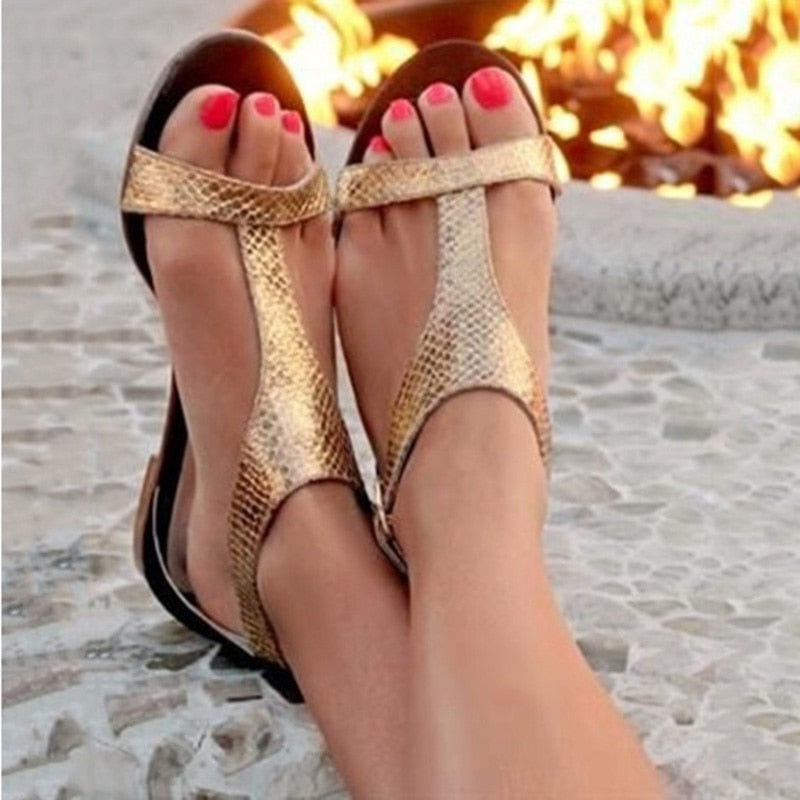 Snake Flat Beach Gladiator Sandals woman shoes