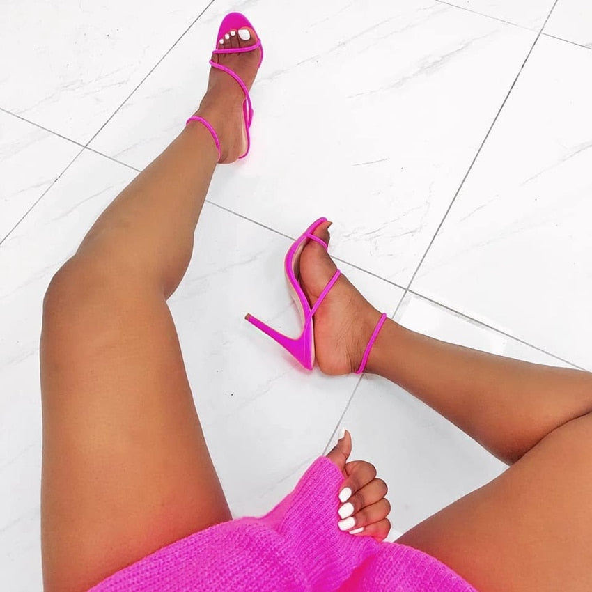 Pink Neon Gladiator Sandals High Heels Ankle Strap Size 35-42