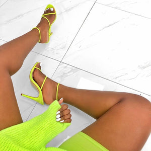 Yellow Neon Gladiator Sandals High Heels Ankle Strap Size 35-42