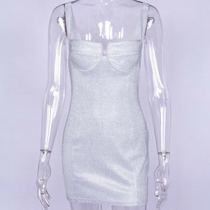 Sparkly Bodycon Evening Strappy Mini dress Silver