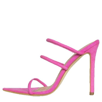 Neon Strappy Mules High Heel Sandals Pink
