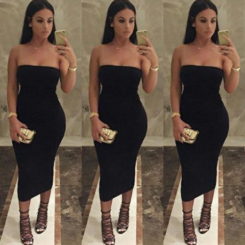 Strapless Bodycon Off Shoulder Pencil Midi Dress Black Pink