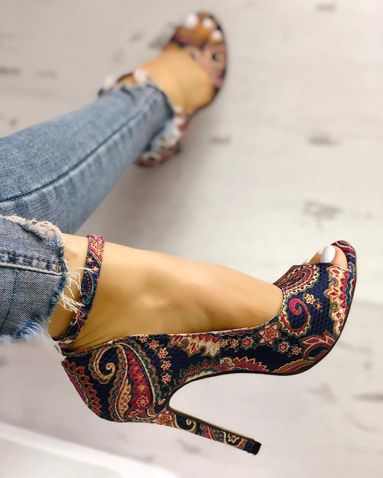 Oriental Floral Exquisite High Heels Stiletto Peep Toe woman shoes
