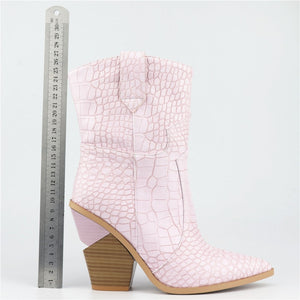 Western pointed ankle boots block heel Yellow