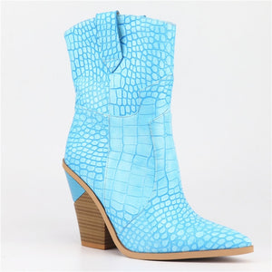 Western pointed ankle boots block heel Sky Blue