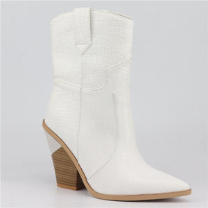 Western pointed ankle boots block heel White