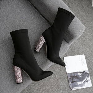 Glitter Ankle Pointed Boots Block Heel