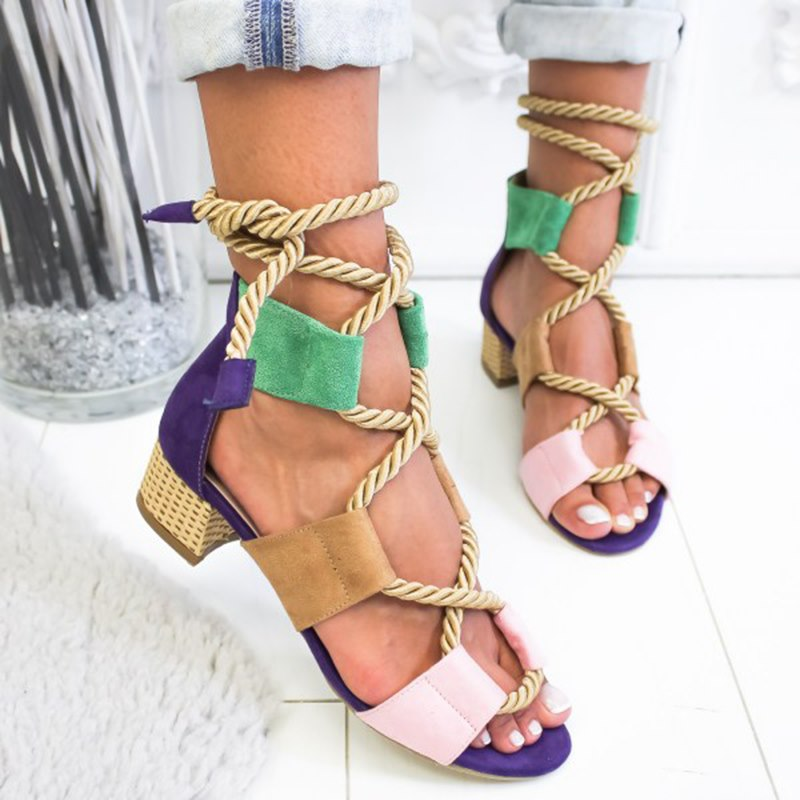 Gladiator lace up rope low heels Big size 43 woman shoes