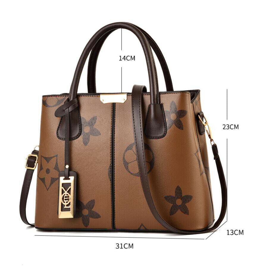 Designer Inspired Dark Brown Tote Handbag