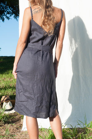 Ava Linen slip - Midnight