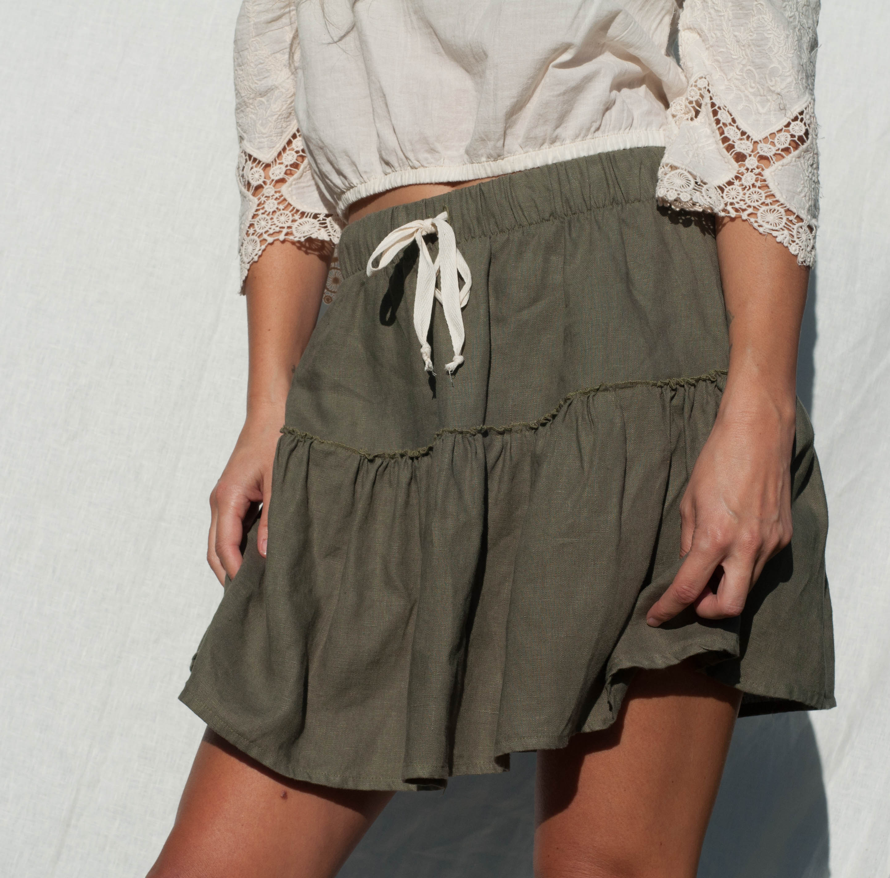 Ava Linen Skirt in Rosemary
