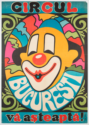 Bucharest Clown 1974 Hungarian Circus poster