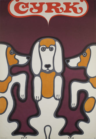 1969 Polish CYRK Poster - Three Beagles