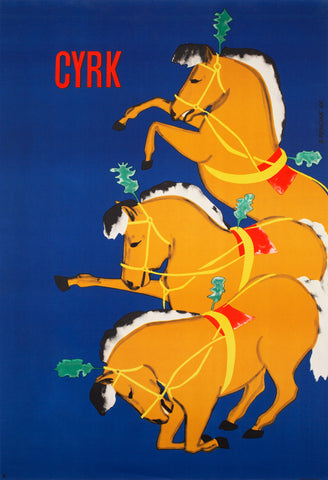 CYRK Bowing Horses 1965 Polish Circus Poster, Penciak