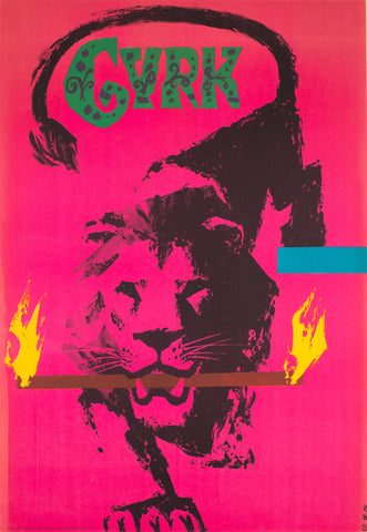 CYRK Fire Carrying Lion 1962 Polish Circus Poster, Chmielewski