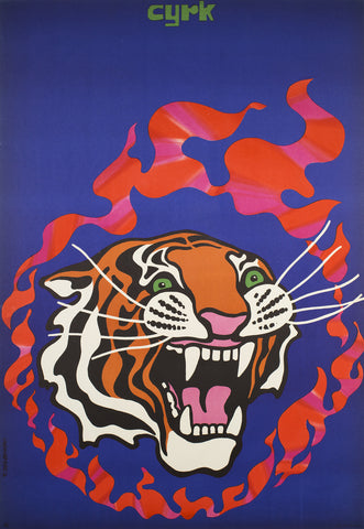 Fire Tiger - 1970 Polish CYRK Poster