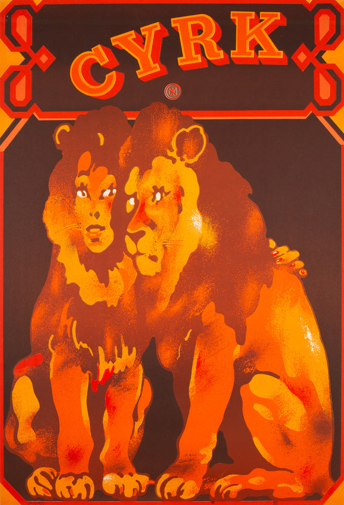 CYRK Lion Lovers 1975 Polish Circus Poster, Swierzy