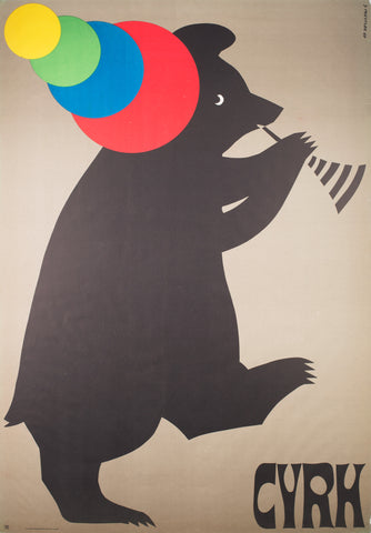 CYRK Trumpet Playing Bear 1969 Polish Circus Poster, Treutler