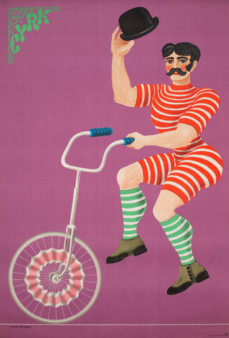 CYRK Unicycle Gentlemen 1970 Original Polish Circus Poster, Hilscher