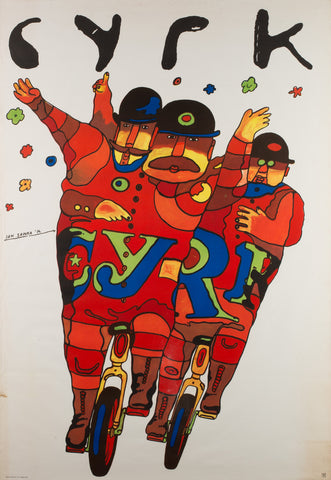 Polish CYRK Poster - Unicycle Gents 1974, Sawka