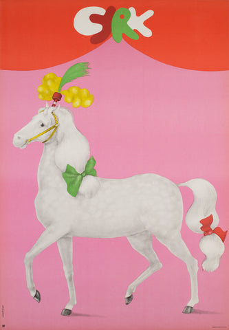 Polish CYRK Poster - White Horse with Bows 1975, Urbaniec