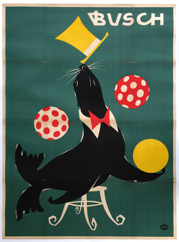 DDR Busch Circus 1967 Juggling Seal Poster