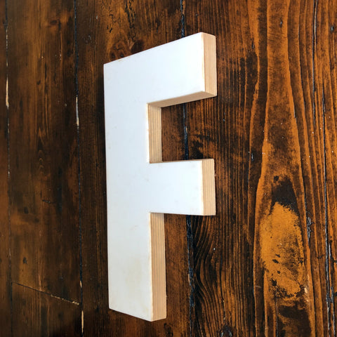 F - Medium Factory Shop Letter Ply Wood & Perspex