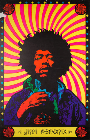 Jimi Hendrix 1968 Blacklight Poster