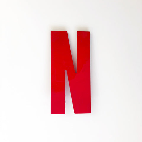 N - Medium Red Cinema Letter Type3