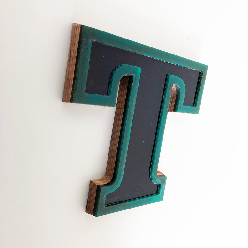 T - Medium Factory Shop Letter Ply Wood & Perspex