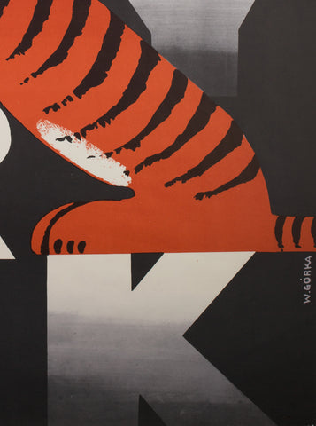 CYRK Two Tigers 1973 Polish Circus Poster, Gorka - detail