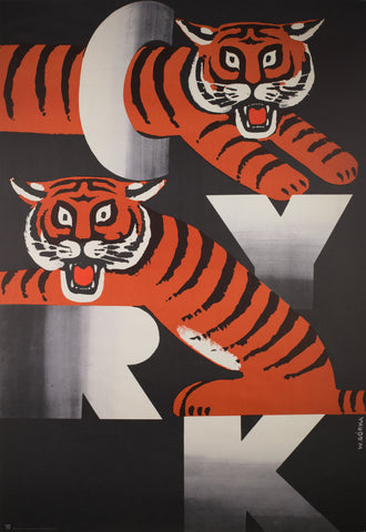 CYRK Two Tigers 1973 Polish Circus Poster, Gorka