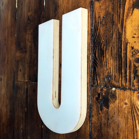 U - Medium Factory Shop Letter Ply Wood & Perspex
