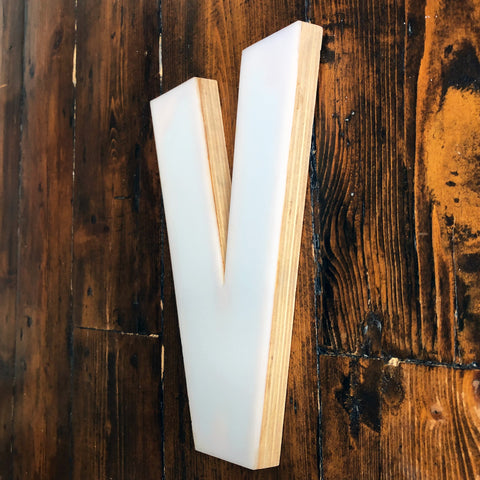 V - Medium Factory Shop Letter Ply Wood & Perspex