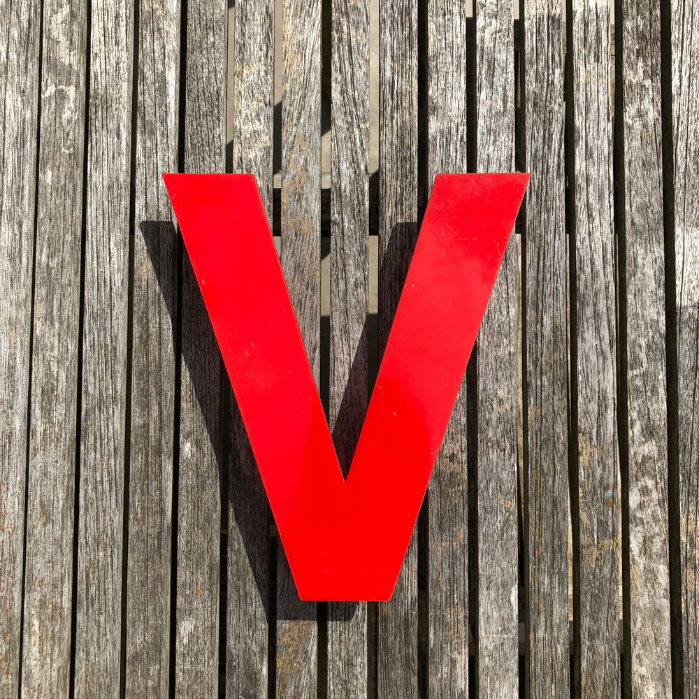 V - Medium Red Cinema Letter Type1