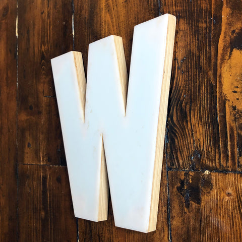 W - Medium Factory Shop Letter Ply Wood & Perspex